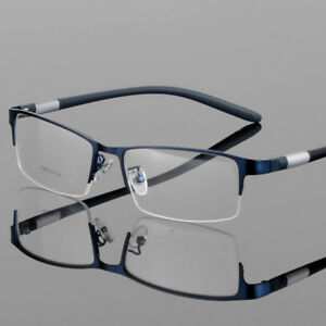 New Men's Metal Half Rimless Eyeglasses Frames Rectangular Eyewear Frame RX Able