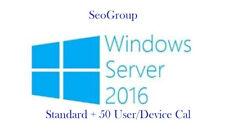 Windows Server 2016 Standard + Remote Desktop Services RDS 50 User/Device Cal