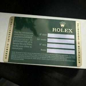 ROLEX Classic Warranty Card Guarantee Guide