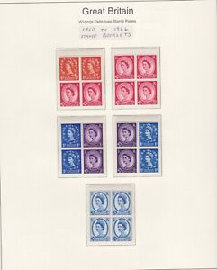 GB STAMPS 1960 QE2 WILDING BOOKLET PANES ON PAGE FROM COLLECTION
