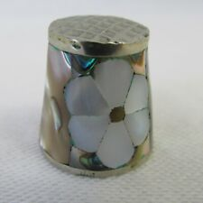Vintage Daisy Mother of Pearl Silver Abalone Flower Sewing Thimble