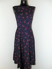 Vintage Look Cherry Print Pin Up Girl Dress in sz Large