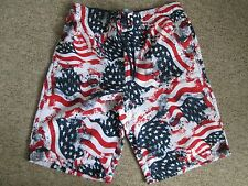 NEW LOOK MAN - RED USA,SWIM/BOARD SHORTS SIZE M - FULLY LINED -100% POLYESTER