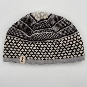 """Smart Wool Beanie Winter Hat Gray Blue Nude Brown Pattern 10"""" x 6"""""""