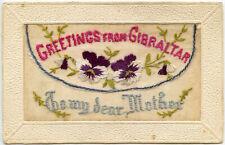 More details for ww1 gibraltar embroidered silk postcard pocket type miniature card scottish regt