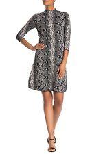 Nanette Lapore Fit & Flare Dress Womens Size Large Mock Neck Snake Print H78