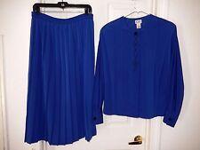 Elegant KORET Pleated Skirt Suit Set-size 12, blue GORGEOUS!