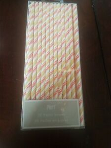 Pier 1 25 Straws Red abd White and Gold