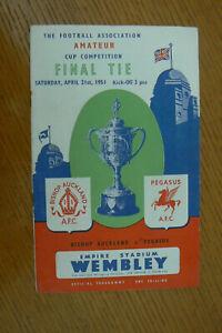 1951 BISHOP AUCKLAND V PEGASUS PROGRAMME . AMATEUR CUP FINAL