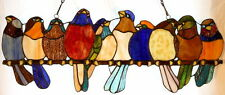 "Tiffany Stained Glass Panel -""Birds On A Branch"""