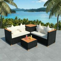 vidaXL Garden Sofa Set 14 Pieces Wicker Poly Rattan Black WPC Outdoor Lounge