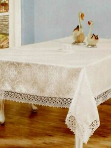 LACED Dining Party Table Cloth Luxury polyester fabric SIZE 150X220CM, IVORY