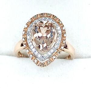 9k Morganite Diamond RING_375 rose gold_White and Cognac Diamonds_Claw settting