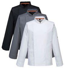 More details for portwest meshair pro jacket l/s chef lightweight stud front kitchen c838