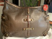 Isabella Fiore Leather Woodworks Audra Handbag Single Strap Purse Tote w/tags