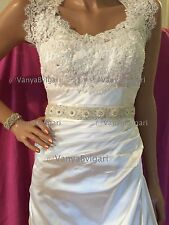 BRIDAL SASH WITH PEARLS LIKE FLOWERS IVORY ON A RIBBON, WEDDING BELT WITH PEARLS