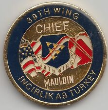 USAFE Command & Control 39th Wing Chief Mauldin Incirlik Turk challenge coin 141