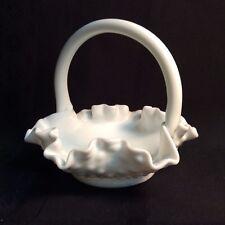 Vintage hobnail white milk glass; Fenton sm. handled basket,ruffles  (ZZ S 3)