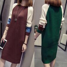 Women Autumn Fashion Korean Loose Dress Knitted Long Sleeve Sweater Dresses UK