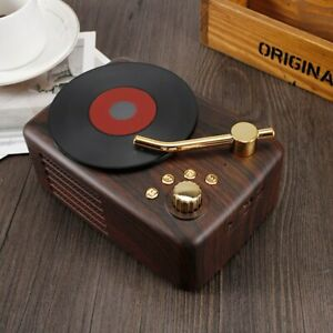 Mini Bluetooth Speaker Retro Record Player Wood Wireless Hifi Stereo USB Speaker