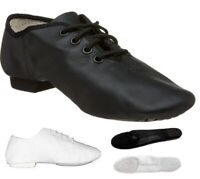 Jazz Dance Modern Stage Leather Shoes Split Sole Black White