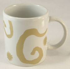 Oscar de la Renta White and Gold Swirls & Sunbursts Mug Coffee or Tea