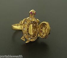 Turtle Ring 14K Tri-Gold Diamond Ruby Hinged Opens Pill Holder Yellow White Rose