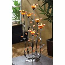 Tea Light Candle Holder w/ 6 Iridescent Amber Lilly Bloom Cups on Curving Stems