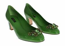 NEW $700 DOLCE & GABBANA Shoes Green Patent Leather Crystal Pumps EU37.5 / US7
