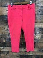 Ann Taylor Loft Women's Red Julie Flat Front Mid Rise Ankle Pants Size 10