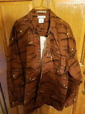 Columbia River Lodge Red Rust Deer Hunter Woods Print Shirt Men's Long Sleeve XL