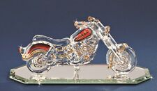 Glass Baron ~ Motorcycle Glass Figurine with Crystal Accents - Brand New