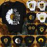 Women's Short Sleeve T-Shirt Sunflower Print Graphic Casual O-Neck Tops Blouse