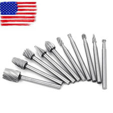 10pc Tungsten Carbide Cutting Burr Set Dremel Drill Bits rotary grinder grinding
