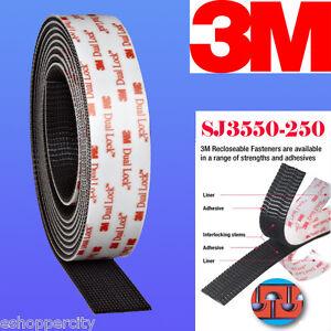 "3M  1"" W x 5' Dual Lock SJ3550 Type 250 VHB Black Reclosable Fastener In/Outdoor"