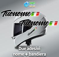 Adesivi Nome e Bandiera casco bicicletta bike moto kart flag sticker nero