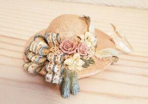 House of Louis Nichole Victorian Ornament - Peach Hat