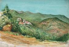 Paisaje pintura acuarela de voze Savona Italia 1958 Riviera italiana