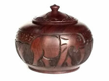 Hand Carved Wooden Bowl W Lid African Ebony Wood Carving Safari Animal Figures