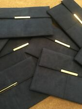 Navy Suede SILVER Clasp Clutch Purse Well known High Street Brand