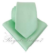 Men's Pastel Mint Green Necktie and Pocket Square Hankie Set Formal Wedding 100V