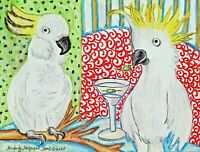Cockatoo Drinking a Martini Pop Art Print 8 x 10 Collectible Artist Signed KSams