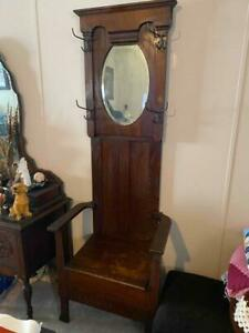 1800s Antique Hall Tree Bench Chair Chest Mirror Coat Hanger Rare Original