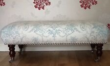 A Quality Long Footstool In Laura Ashley Tuileries Duck Egg Fabric