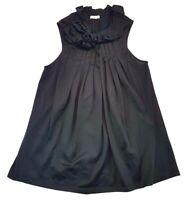 Elijah Pleated Rose Sleeveless Top Black Size S Womens