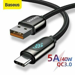 Baseus USB To Type C 5A Fast Charging Cable Charger Data Line For HuaWei Samsung