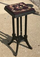 "Antique 30"" Handmade Needlepoint Rose Flower Floral Carved Oak Plant Stand Stool"