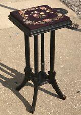 "Antique 30"" Handmade Needlepoint Rose Flower Floral Carved Oak Plant Stand Stool"