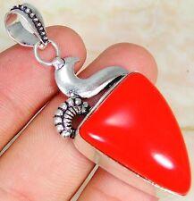Coral rojo y 925 Plata Colgante hecho a mano con estilo 55mm y Caja de Regalo & S plata cadena