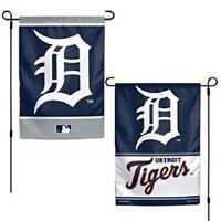 DETROIT TIGERS Flag Double Sided Logos Garden Indoor Outdoor Wincraft  12 X 18